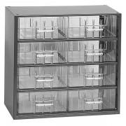 Certeo Schubladenmagazin, Schubladen glasklar HxBxT 282 x 306 x 155 mm, 8 Schubladen, Gehäuse tiefschwarz