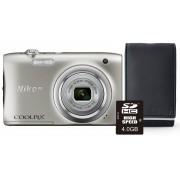 Nikon Aparat Coolpix A100 Srebrny + Karta 4GB + Pokrowiec