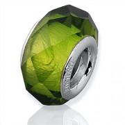 Unique Grüner Glas Bead mit 925 Silber Fassung