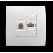 HBF zásuvka RJ11+RJ45 CLARYS bílá (230178)