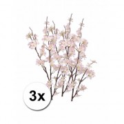 Merkloos 3x kunstbloem appelbloesem tak roze 84 cm
