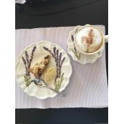 Kézzel festett Levendulás Kerámia készlet - 18 darabos étkészlet