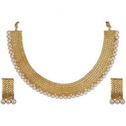 Utkrishtt by JewelMaze Zinc Alloy White Pearl Gold Plated Necklace Set-PAB0005