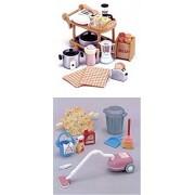 2 Sylvanian Families Sets - Complete Kitchen Appliances Set and Vacuum Cleaner Set
