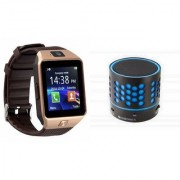 Zemini DZ09 Smartwatch and S10 Bluetooth Speaker for SAMSUNG GALAXY CORE 4 G(DZ09 Smart Watch With 4G Sim Card Memory Card| S10 Bluetooth Speaker)