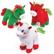 Soft Christmas Unicorns - 3 Adorable & Cuddly Toys For Santa's Grotto Or As A Stocking Filler. Size approx. 15cm.