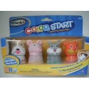 Washable Color Start My First Jumbo Markers - Green Rabbit, Yellow Mouse, Red Bulldog and Blue Cat by Color Start Jumbo Markers
