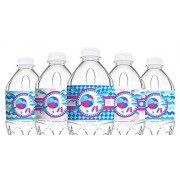 Pop Parties Splish Splash Pink Bottle Labels - 20 Pool Party Water Decorations Made In The Usa