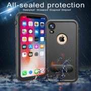 REDPEPPER Dot+ Series Dustproof Snowproof IP68 Waterproof Case with Kickstand for iPhone XR 6.1 inch - All Black