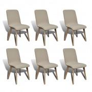 vidaXL Set 6 scaune de interior din lemn stejar și stofă, Gri deschis