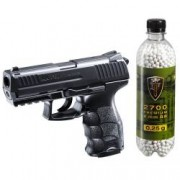 Set pistol airsoft arc 0 5 Jouli si flacon 2700 buc bile 0.25 g Umarex HK P30