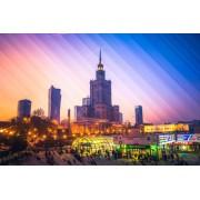 Kolorowa Warszawa Pałac Kultury i Nauki - plakat premium