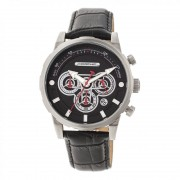 Morphic M60 Series Chronograph Leather-Band Watch w/Date - Silver/Black MPH6001
