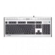 Клавиатура A4tech KL-7MU, жакове за слушалки и микрофон, вграден USB port, USB, сребриста