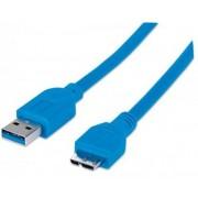 USB kábel, USB 3.0 - microB, 2 m, MANHATTAN, kék (KMA325424)