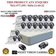 HIKVISION 2 MP 16CH DS-7116HQHI-F1 MINI Turbo HD 1080P DVR + HIKVISION DS-2CE16DOT-IR TURBO BULLET CAMERA 15pcs CCTV COMBO