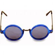 Woman Men Blue Round Shape Sunglasses