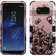 Funda Case Para Samsung S8 Doble Protector De Plástico Super Resistente TUFF Uso Rudo - Rose Gold Mariposas