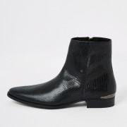 River Island Mens Black leather snake embossed pointed boot (8)