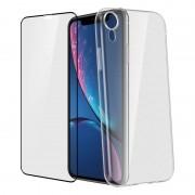Avizar Funda de Silicona Transparente + Cristal Templado con Bordes Negros para Apple iPhone XR