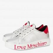 Moschino Sneakers Donna in Nappa Silver con Logo Rosso