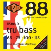 Rotosound Cuerdas para bajo RS88LD, 4er 65-115 Tru Bass 88, negro Nylon Flat