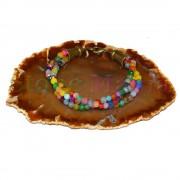 Bratara vintage agat multicolor 3 randuri