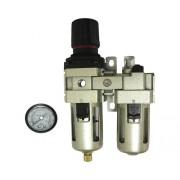 "Regulator de presiune cu filtru, manometru si lubrificator Mecafer 1/4"" max. 10 bari"