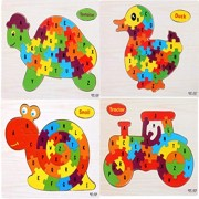 Babytintin A-Z English Alphabet Learning Wooden Jigsaw Puzzle Blocks Jigsaw Puzzles, Wooden Alphabet Jigsaw Puzzle Wooden Building Blocks Animal Wooden Puzzle for Children's Puzzles Toys (Pack of 4)