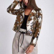 River Island Womens Brown foil floral faux suede biker jacket