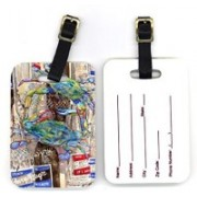 Caroline's Treasures 8914BT 4 x 2.75 in. Pair of Blue Crabby Bottles of Barqs Rootbeer Luggage Tag(Multicolor)