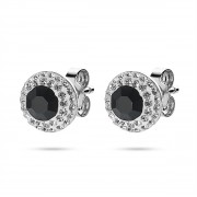 Twice As Nice Oorbellen in zilver, ronde 10 mm, 1 groot zwart kristal, kleine witte kristallen zwart-wit