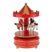 Segolike Merry Go Round Music Box w/ Steepletop Christmas Kid Birthday Present Carousel Musical Box Toy - red and golden
