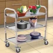 Homcom ® Wózek Barowy Kuchenny Z 3 Półkami Srebrny