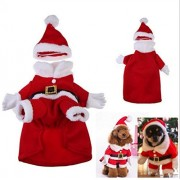 fashion 2016 Red XS/S/M/L/XL Pet Clothes Christmas Cartoon Costume For Dog Cloth Costume Winter Apparel Coat (M)