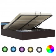 vidaXL Легло повдигащ механизъм с LED сиво изкуствена кожа 160x200 cм