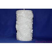 VIRÁGDÍSZÍTÉSES Esküvői Fehér gyertya 12,5 cm