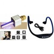 Zemini Q7 Microphone and BS19C Bluetooth Headset for SAMSUNG GALAXY GRNAD MAX(Q7 Mic and Karoke with bluetooth speaker | BS19C Bluetooth Headset With Mic)