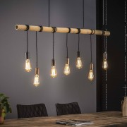Zaloni Hanglamp Bamboe 7Lampen van 120 cm breed