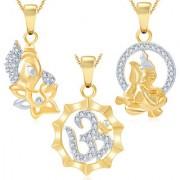 Sukkhi Ravishing Ganesha Gold Plated Set of 3 God Pendant with Chain Combo