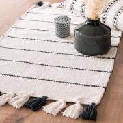 Maisons du monde Tappeto in cotone bianco e nero a pompon, 50x80
