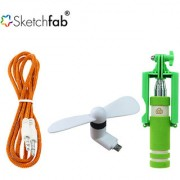 Sketchfab Combo of Aux Cable V8 OTG Fan With Mini Selfie Stick - Assorted Color