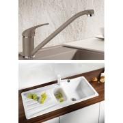 BLANCO DARAS silgránit HD csaptelep - BLANCO NOVA 6 S gránit mosogatótálca szett - jázmin