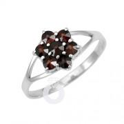 Silvego Stříbrný prsten FLORET s pravým granátem - BSG28003
