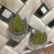 Digital Dress Women's Fashion Jewellery Earring Indian Traditional Light Weight Oxdized German Silver-Plated Beaded Chandbali with Green Enaml Work Design Drop Earrings for Women and Girls