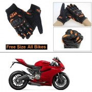 AutoStark Gloves KTM Bike Riding Gloves Orange and Black Riding Gloves Free Size For Ducati 899 Panigale