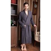 Five Wien Вафельный мужской халат из мягчайшего бамбукового волокна темно-серого цвета Five Wien FW1387 Антрацит