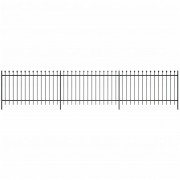 vidaXL Ornamental Security Palisade Fence Steel Black Pointed Top 120 cm