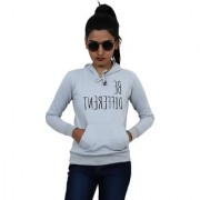 Women Grey Graphic Print Detail Hooded Sweatshirt
