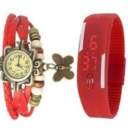 Red Leather And Led Combo Watch With Special Discount